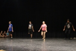 Sophomore Jordan Burger, senior Joel Jackson and juniors Jessica Phillips and Luis Romines tap dance for their audition on Tuesday August 4th. Photo by Jenny North.
