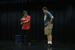 Senior Will Huston and sophomore Sam Moore audition for roles in the small stage production of Moon Over Buffalo. Photo by Jenny North.