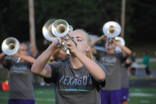 Junior Emily Davis plays her trumpet.