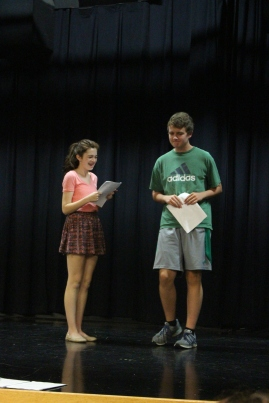 "Freshman Elizabeth Hallal and junior Chase Bishop read lines while auditioning for Moon Over Buffalo. ""I auditioned for George because I wanted to be able to play him. He's a very physical character,"" said Bishop. Photo by Jenny North."
