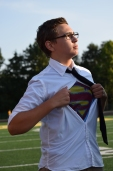 Junior Joe Sellers shows off his outfit for the superhero theme.