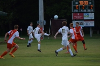Junior Trey Meyer elevates the ball into the air.