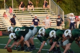 The offensive line gets ready for the next play.