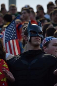 Senior Chris Rogers dresses as Batman for the superhero theme.