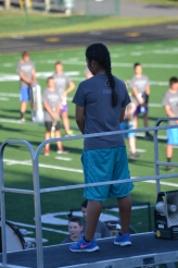 Senior Yuriko Toshiro takes her place at the front of the field as she prepares to lead the band through their first full run.