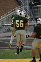 Junior Bryce Polk and senior Kyle Peters celebrate after a touchdown.