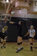 Freshman Kamryn Plaiss hits the ball to a teammate.