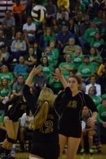 Freshman Sara Sans sets the ball for her teammate.