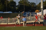 Senior Paden Pikey catches a pass from senior Blake Carl. The Highlanders scored on the play and went up 9-0 over the Red Devils.