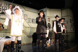 "Sophomores Jordan Burger, Sam Moore, junior Chase Bishop and senior Will Huston perform ""Cyrano de Bergerac."""
