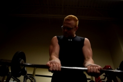 Senior Hunter Hampton does curls with weights at the FC weight room on Oct. 20.