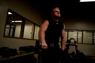 Senior Hunter Hampton works out with dumbbells in the FC weight room on Oct. 20.