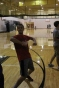 Freshman Garner Offutt dances in the gym. Photo by Delaney Smith.