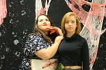"Junior Faith Oppel as ""the wife who just killed her husband"" (left) and junior Gracie Reising as Kim Possible (right)."