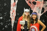 Junior Emma Pappas as Thor and junior Samanta Garcia as Captain America.