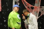 Junior Ethan Worrall, who is dressed as a self-certified doctor, pretends to do a check-up on junior Peyton Pierce who is dressed as Mike Wasowski.