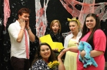 "From left to right: junior Lucas Willman as Anger, junior Faith Oppel as ""the wife who just killed her husband,"" junior Gracie Reising as Kim Possible, senior Savannah Thieneman as Pikachu, and senior Sara Wardrip as Boo."