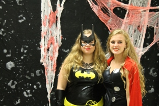 Freshman Eleni Pappas as Batman and junior Emma Pappas as Thor.