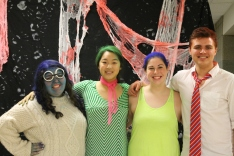 From left to right: senior Erin Bertram as Sadness, senior Annie Sung as Disgust, senior Kristen Burger as Joy, and junior Lucas Willman as Anger.