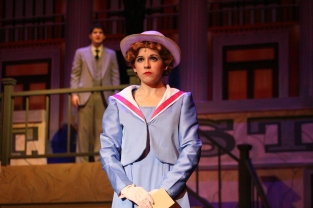 """The star of the show, Junior Morgan Prentiss, performs """"Lullaby of Broadway"""" with senior Joel Jackson."""