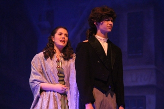 Sophomore Allie Lincoln delivers a heart wrenching break up to sophomore Logan McNeeley.