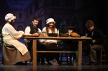 """The Cratchit family shares a warm laugh together at their Christmas dinner feast. """"My favorite scene would have to be the Cratchit Family Christmas, because of just how heartwarming and lovely of a moment it is, to see this family's selfless love and compassion on display,"""" said DeVary."""