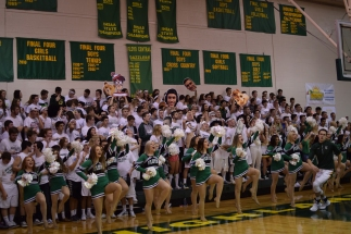 The Dazzlers and the student section get excited for the game.