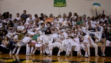 The student section takes a nap while New Albany's starting lineups are being announced.