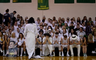 Senior Chris Rogers talks to the student section.
