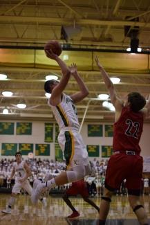 Sophomore Luke Gohmann takes a shot.