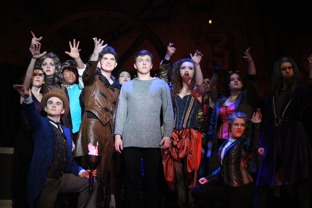 """The cast of """"Pippin"""" all encourage Pippin to jump into the flames and end his life."""