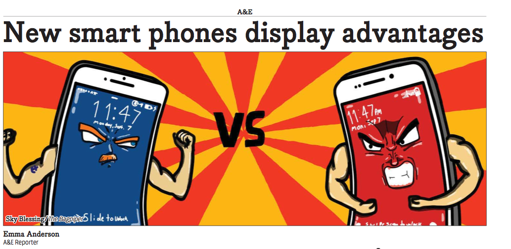This is the PDF archive about the different features of two competing smart phones.