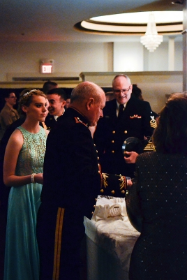 Guest speaker LT. Colonel Ben Gipe prepares his plate before returning to the head table.