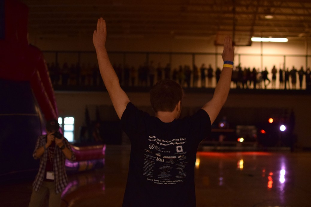 Junior Chase Stepp acknowledges the crowd after winning this year's Hunger Games.