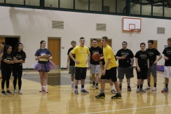 Senior Chase Longest prepares to dunk.
