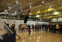 Senior Jordan Stevens jumps up to the basket.