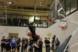 Senior Harrison Rice attempts to go behind the back with his dunk.