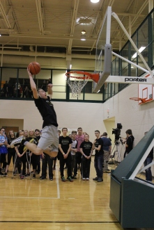 Senior Paden Pikey goes up for a dunk.