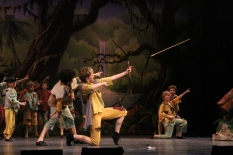 Freshman Jessie Robinson shoots down junior Sarah Denison to impress Peter Pan.
