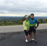 Science teacher Michelle and Latin teacher Tim Harbison pose for a photo during a bike ride through the Knobs. Photo submitted by Michelle Harbison.
