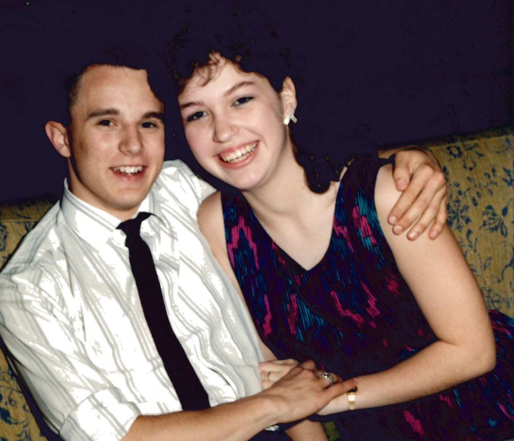 Government and economics teacher Trent McNeeley poses with his wife, Dana, at a dance in 1987. Photo submitted by Trent McNeeley.