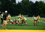 Junior Olivia Didat breaks away from two defenders on her way to the goalline. Photo by Jack Dunsford