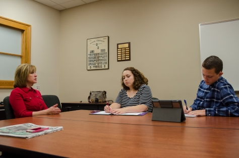 Indiana Treasurer Kelly Mitchell sits down for an interview with Editor-in-Chief Braden Schroeder and Managing Editor Amber Bartley. Photo by Robert Wormley.