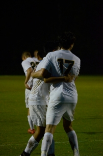Seniors Brodey Zink and Evan Sakamaki celebrate after a goal.