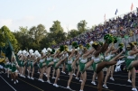 The cheerleading team does the school fight song after the Highladers score a touchdown. Photo by Braden Schroeder