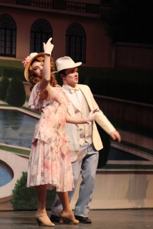 Newlyweds junior Mitchell Lewis, portraying Jimmy Winter, and senior Sarah Denison, playing Eileen Evergreen, discuss the events of the night ahead of them.