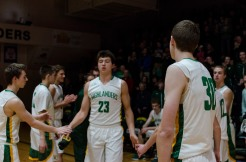 Junior Luke Gohmann is introduced during the starting line-ups. Photo by Robert Wormley