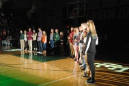 Members of the homecoming court line up during the pep rally.