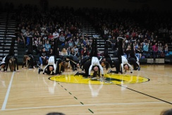 Dazzlers begin their routine with flips.