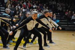 Senior Kelsey Striegel leads the Dazzlers in the final seconds of their performance.